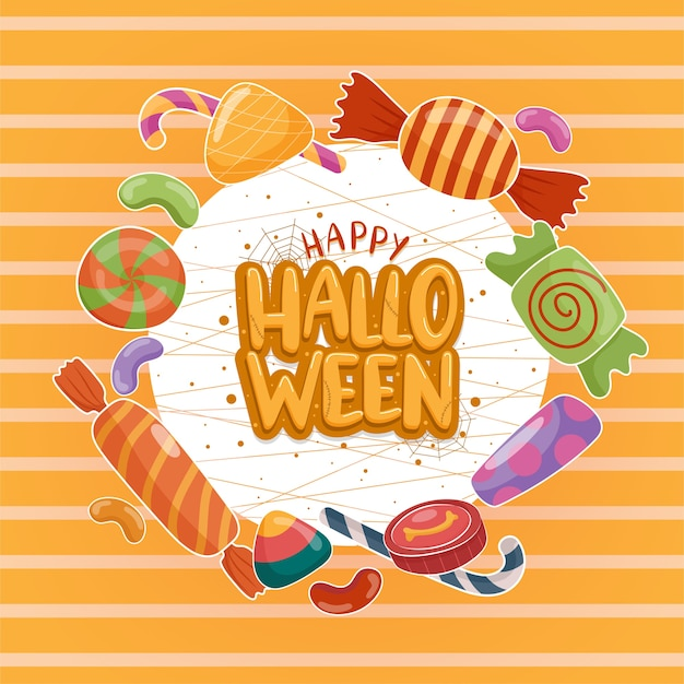 Halloween-ikonenvektor mit bunten süßigkeiten auf dem weiß-orange hintergrund.