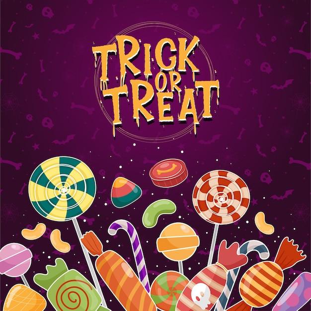 Halloween-ikonenvektor mit bunten süßigkeiten auf lila hintergrund