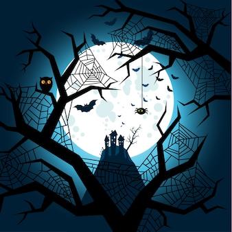 Halloween illustration. fledermäuse fliegen in der nacht mit einem vollmond auf dunkelblauem hintergrund.
