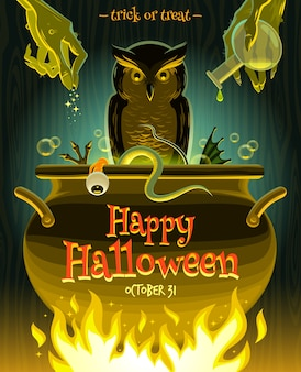 Halloween-illustration - hexe kocht gifttrank im kessel