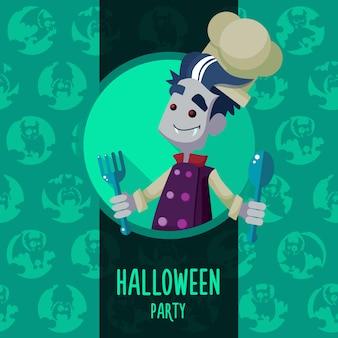 Halloween-illustration in der art flach über vampirschef
