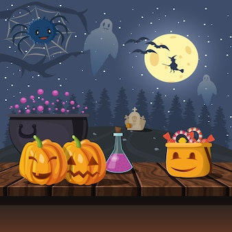 Halloween illustration in der nacht