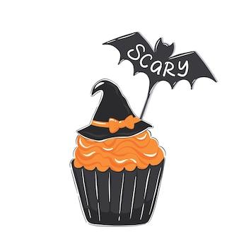 Halloween-illustration mit cupcake-orangenglasur und hexenhut isoliert auf weißem hintergrund