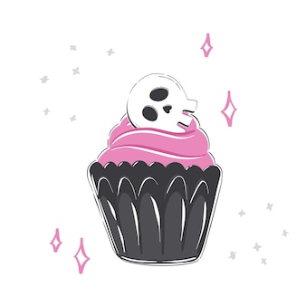 Halloween-illustration mit cupcake-rosa-glasur und schädel auf weißem hintergrund