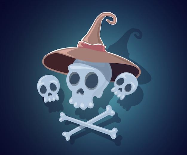 Halloween-illustration mit den schädeln im hexenhut und in den gekreuzten knochen