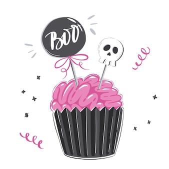 Halloween-illustration mit rosa zuckerguss-cupcake in form von gehirn und isoliert auf weißem hintergrund