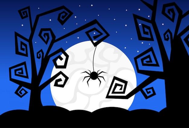 Halloween-illustration mit schattenbildern von bäumen, von spinne und von mond