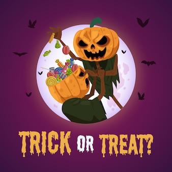Halloween-illustration mit unheimlicher vogelscheuche und süßigkeiten