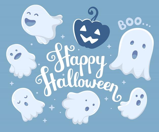 Halloween-illustration vieler weißen fliegengeister mit den mündern
