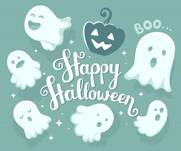 Halloween-illustration vieler weißen fliegengeister und -kürbises