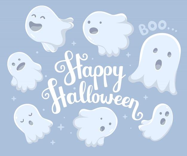 Halloween-illustration vieler weißen fliegengeister