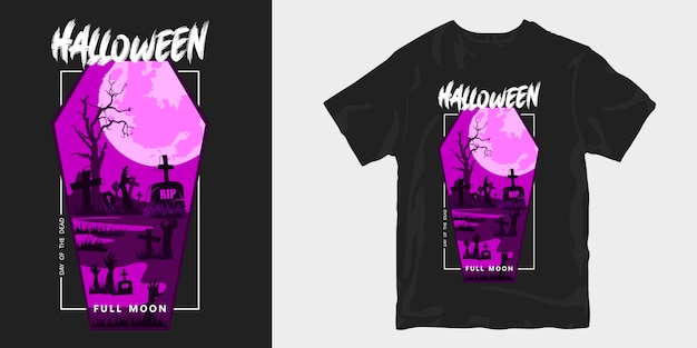 Halloween illustration vollmond gruselige silhouetten t-shirt design poster