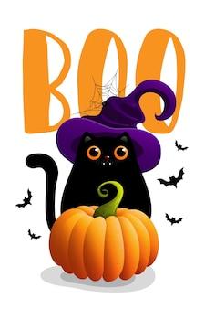 Halloween-illustrationen mit beschriftung und schwarzer katze.