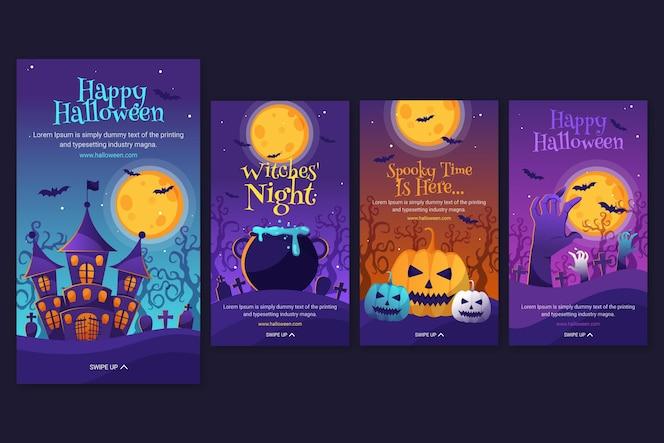Halloween instagram-geschichten-sammlung mit farbverlauf
