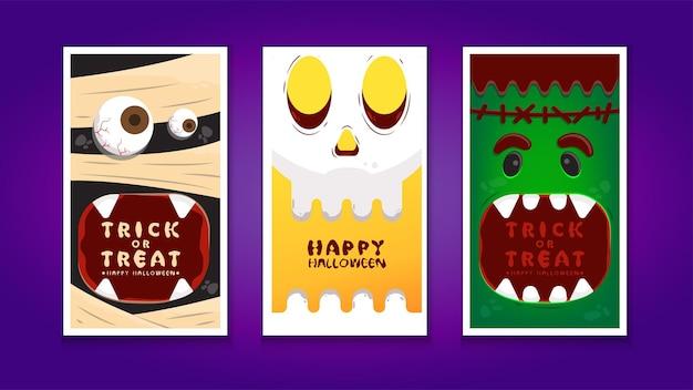 Halloween instagram geschichten sammlung vorlagendesign