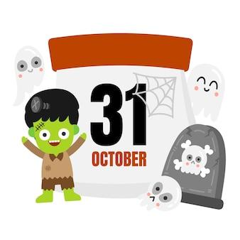 Halloween kalender vektor.