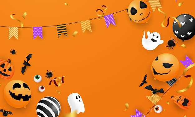 Halloween karneval hintergrund, orange lila luftballons, konzept design party, feier illustration.