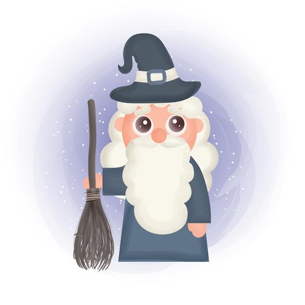 Halloween-karte mit einer hexe.