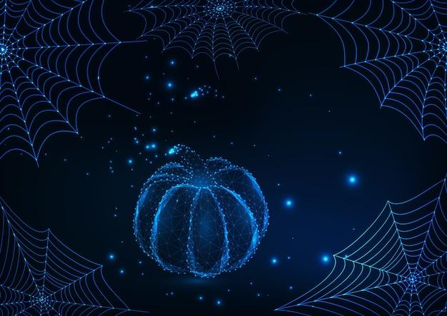 Halloween-karte mit glühenden spinnennetzen und niedrigem polykürbis
