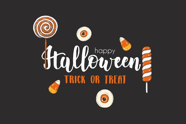 Halloween-karte mit handgezeichneten farbigen süßigkeiten und lutschern. skizze, schriftzug -