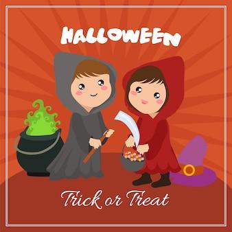 Halloween-karte mit kapuze paar zeichen