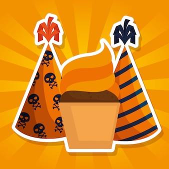 Halloween-karte mit kleinem kuchen und partyhüten