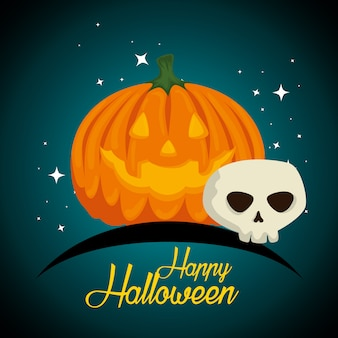 Halloween-karte mit kürbis und dem schädel