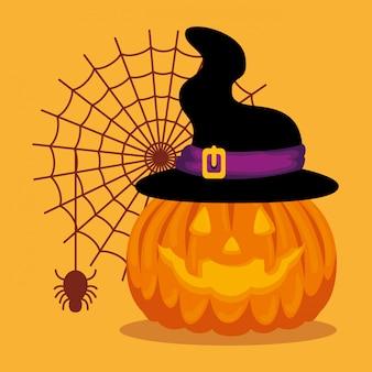 Halloween-karte mit kürbis- und hexenhut