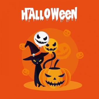 Halloween-karte mit kürbis- und katzencharakteren