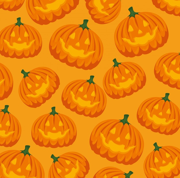 Halloween-karte mit kürbismusterhintergrund
