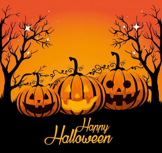 Halloween-karte mit kürbissen