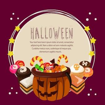 Halloween-karte mit runden text der festlichkeiten