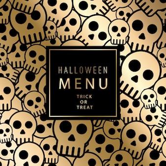 Halloween-karte mit schädeln nahtloses muster. vintage gold design für menü