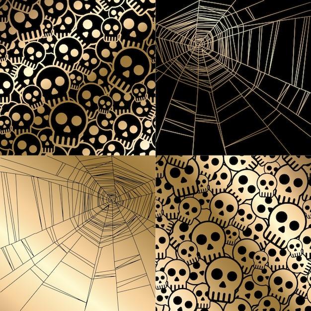 Halloween-karte mit spinnennetz und schädeln nahtloses muster.