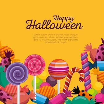 Halloween-karte mit süßen süßigkeiten