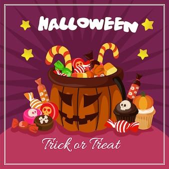 Halloween-karte mit süßigkeiten behandelt flache stil