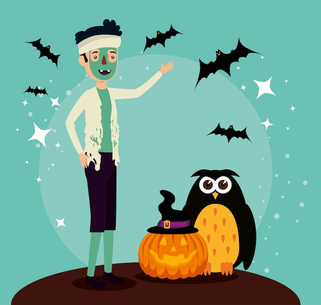 Halloween-karte mit zombieverkleidung und -eule