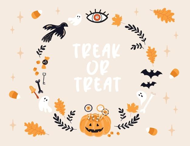 Halloween-karte. süßes oder saures.
