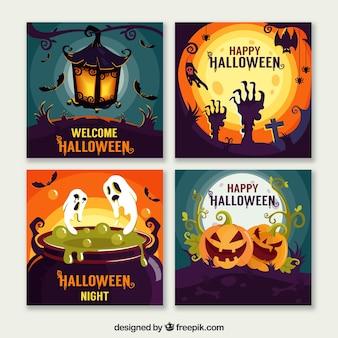 Halloween-karten gesetzt