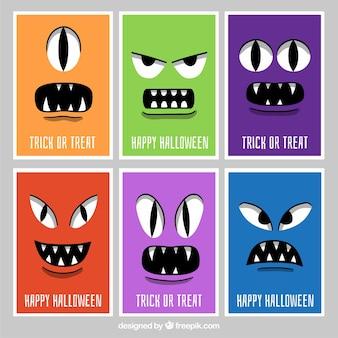 Halloween-karten mit monstergesichtern