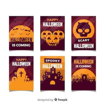 Halloween-kartensammlung im flachen design