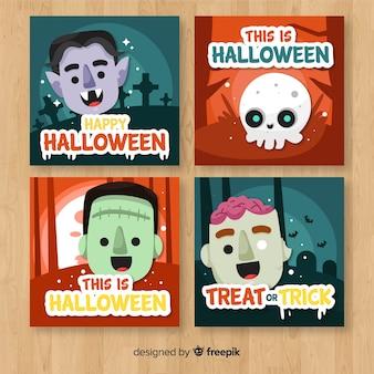 Halloween-kartensammlung mit lustigen monstern