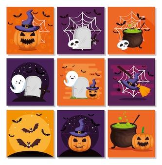 Halloween-kartensatz