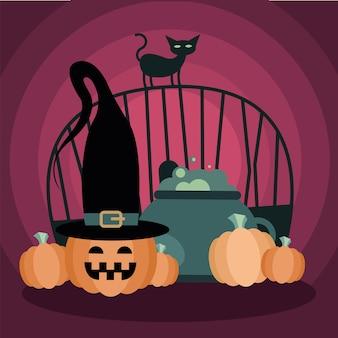 Halloween-katze am tor mit hexenschale und kürbisentwurf, gruseliges thema