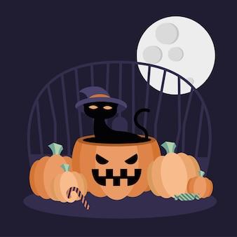 Halloween-katze auf kürbisentwurf, gruseliges thema