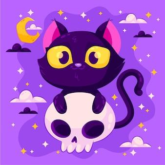 Halloween-katze im flachen design
