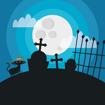 Halloween-katze mit hut am friedhof, feiertag und unheimliche illustration