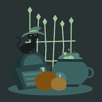 Halloween-katze mit hut auf grab- und torentwurf, gruseliges thema