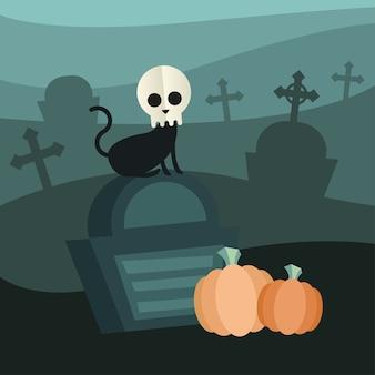 Halloween-katze mit schädel am friedhofsentwurf, unheimliches thema