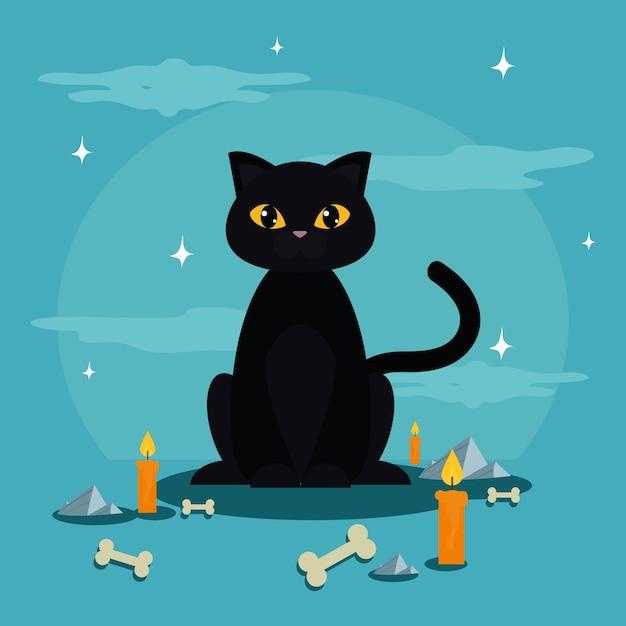 Halloween katze schwarz